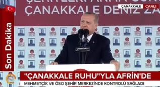 Cumhurbaşkanı Erdoğan: Afrin kent merkezinde kontrol sağlandı