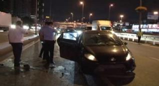 E-5´te takla atan araç yan yola uçtu... Trafik kitlendi