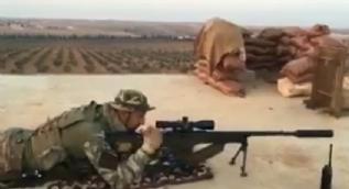 Askerimiz El Bab'ta keskin nişancı tüfeği ile böyle atış yaptı