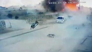 Azez'deki bombalı saldırı kamerada