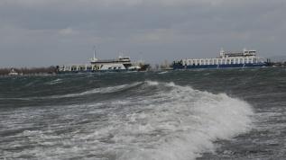Feribot denizde oluşan kum adasına oturdu