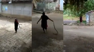 Yürekleri ağızlara getiren görüntü! Yaşlı kadın dev kobrayı böyle taşıdı
