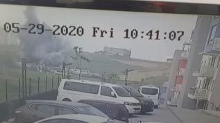 Başakşehir'de korkutan patlama! Dehşet anları böyle görüntülendi