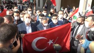 Lübnan'da Türk heyete coşkulu karşılama...