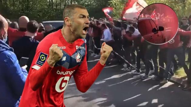 Lille taraftarı çıldırdı! Burak Yılmaz'a coşkulu karşılama, Türk bayrağı açtılar