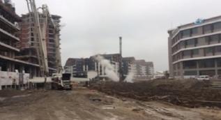 İş makinesi ana doğalgaz borusunu patlattı