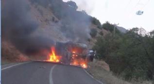PKK'lı teröristler araç yaktı, Tunceli-Pülümür yolu trafiğe kapandı