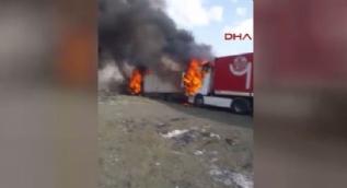 Van PKK'lı teröristler Tendürek'te araçları yaktı