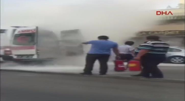 Konya'da ambulansta yang�n