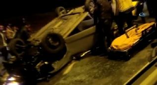 Beykoz'da otomobil takla attı