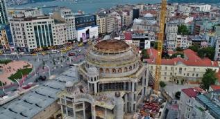 Ana kubbede betonla kapatma çalışmaları görüntülendi