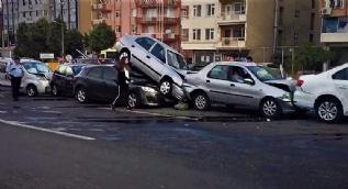 Tekirdağ'da 7 araç birbirine girdi