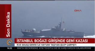 Kilyos'ta Rus savaş gemisi ile kargo gemisi çarpıştı